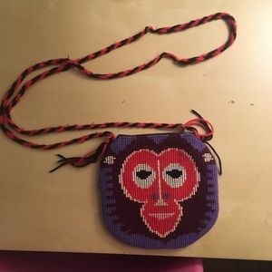 Vintage stitched yarn monkey face mini purse